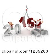 Clipart Of A 3d Elf And Santa Assembling New Year 2015 Numbers Together With A Hoist Royalty Free Illustration
