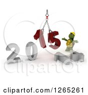 Clipart Of A 3d Construction Tortoise Assembling New Year 2015 Numbers Together With A Hoist Royalty Free Illustration