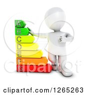 Clipart Of A 3d White Man With A Giant Energy Rating Chart Royalty Free Illustration