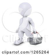 Clipart Of A 3d White Man Carrying A Shopping Basket Royalty Free Illustration by KJ Pargeter