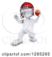 Clipart Of A 3d White Man Throwing A Football Royalty Free Illustration by KJ Pargeter