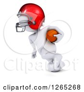 Clipart Of A 3d White Man Running With A Football Royalty Free Illustration by KJ Pargeter