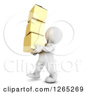 Clipart Of A 3d White Man Carrying Moving Boxes Royalty Free Illustration