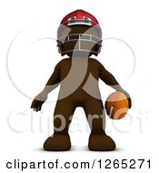 Clipart Of A 3d Brown Man Holding A Football Royalty Free Illustration