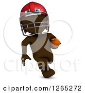 Clipart Of A 3d Brown Man Running With A Football Royalty Free Illustration
