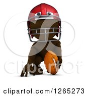 Clipart Of A 3d Brown Man Playing Football Royalty Free Illustration
