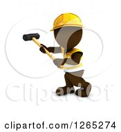 Clipart Of A 3d Brown Man Construction Worker Using A Sledgehammer Royalty Free Illustration by KJ Pargeter