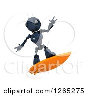 Clipart Of A 3d Blue Android Robot Surfing Royalty Free Illustration by KJ Pargeter