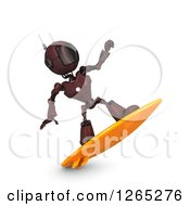 Clipart Of A 3d Red Android Robot Surfing Royalty Free Illustration