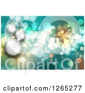 Turquoise Christmas Background With Bokeh Flares And 3d Silver Baubles
