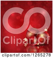 Red Christmas Background Of 3d Baubles Over Snowflakes And Bokeh Flares