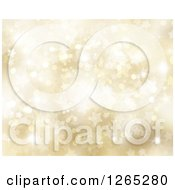 Clipart Of A Golden Christmas Background Of Bokeh Flares And Stars Royalty Free Illustration