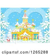 Clipart Of Santa Claus Outside A Christmas Church In The Snow Royalty Free Vector Illustration by Alex Bannykh