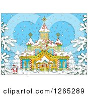 Clipart Of Santa Outside A Christmas Church In The Snow Royalty Free Vector Illustration by Alex Bannykh