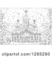 Clipart Of A Black And White Santa Outside A Christmas Church In The Snow Royalty Free Vector Illustration by Alex Bannykh