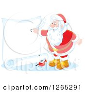 Clipart Of Santa Claus Writing On A Giant Scroll Royalty Free Vector Illustration