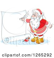 Clipart Of Santa Writing On A Giant Christmas Scroll Royalty Free Vector Illustration