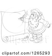Clipart Of A Black And White Santa Writing On A Giant Scroll Royalty Free Vector Illustration