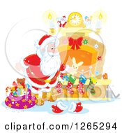 Clipart Of Santa Claus Stuffing Christmas Stockings At A Fireplace Royalty Free Vector Illustration by Alex Bannykh