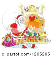 Clipart Of Santa Stuffing Christmas Stockings At A Fireplace Royalty Free Vector Illustration