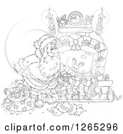 Clipart Of A Black And White Santa Stuffing Stockings At A Fireplace Royalty Free Vector Illustration by Alex Bannykh