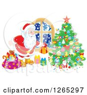Clipart Of Santa Claus Putting Christmas Gifts Around A Tree Royalty Free Vector Illustration