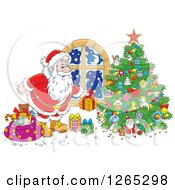 Clipart Of Santa Putting Christmas Gifts Around A Tree Royalty Free Vector Illustration
