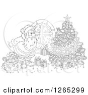 Clipart Of A Black And White Santa Putting Christmas Gifts Around A Tree Royalty Free Vector Illustration