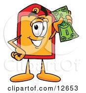 Price Tag Mascot Cartoon Character Holding A Dollar Bill