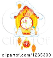 Clipart Of A Christmas Cuckoo Clock With Snow Royalty Free Vector Illustration