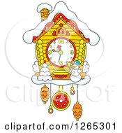 Clipart Of A Cuckoo Clock With Snow And A Christmas Snowman Royalty Free Vector Illustration by Alex Bannykh