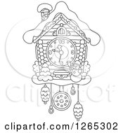 Clipart Of A Black And White Christmas Cuckoo Clock With Snow Royalty Free Vector Illustration by Alex Bannykh