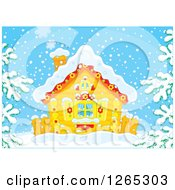 Clipart Of A Log Cabin In The Snow Royalty Free Vector Illustration by Alex Bannykh