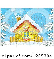 Clipart Of A Log Cabin On A Snowy Winter Day Royalty Free Vector Illustration by Alex Bannykh