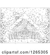 Clipart Of A Black And White Log Cabin In The Snow Royalty Free Vector Illustration