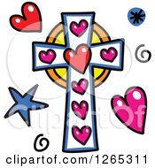 Doodled Christian Cross With Hearts Spirals And Stars