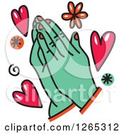 Clipart Of Doodled Praying Hands With Hearts And Flowers Royalty Free Vector Illustration