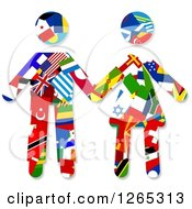 Clipart Of A Flag Patterened Couple Holding Hands Royalty Free Illustration