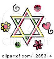 Doodled Star Of David With Hearts Swirls And Flowers