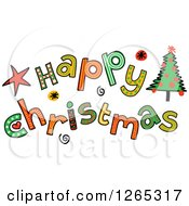 Clipart Of Colorful Sketched Happy Christmas Text Royalty Free Vector Illustration