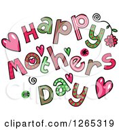 Clipart Of Colorful Sketched Happy Mothers Day Text Royalty Free Vector Illustration