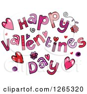 Clipart Of Colorful Sketched Happy Valentines Day Text Royalty Free Vector Illustration