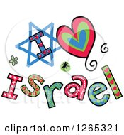 Clipart Of Colorful Sketched I Heart Israel Text Royalty Free Vector Illustration