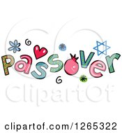 Clipart Of Colorful Sketched Passover Text Royalty Free Vector Illustration