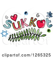 Clipart Of Colorful Sketched Sukkot Text Royalty Free Vector Illustration