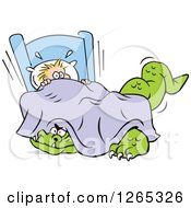 Clipart Of A Frightened Blond Caucasian Boy With A Monster Under His Bed Royalty Free Vector Illustration