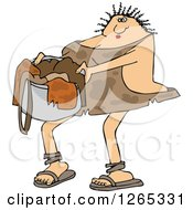 Clipart Of A Cavewoman Carrying A Basket Of Laundry Royalty Free Vector Illustration