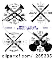 Clipart Of Music And Club Badge Labels With Sample Text Royalty Free Vector Illustration by BestVector