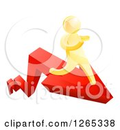 Clipart Of A 3d Gold Man Running On A Red Arrow Royalty Free Vector Illustration
