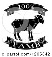 Clipart Of Black And White 100 Percent Lamb Food Banners Royalty Free Vector Illustration
